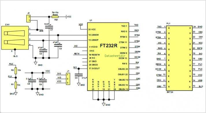 application notes and circuits for Um232r Usb- Serial Uart ... on usb switch schematic, usb port schematic, speakers schematic, wireless schematic, usb circuit schematic, usb hub schematic, usb controller schematic, usb memory schematic, usb cable schematic, gps schematic, converter schematic, usb to ttl converter circuit,