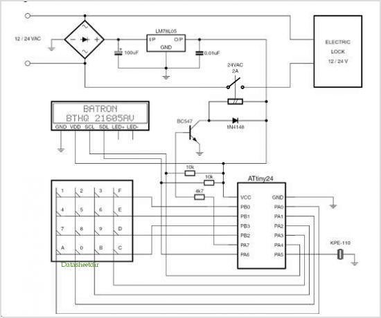 application notes and circuits for Code Lock With 4x4 Keypad And I2c