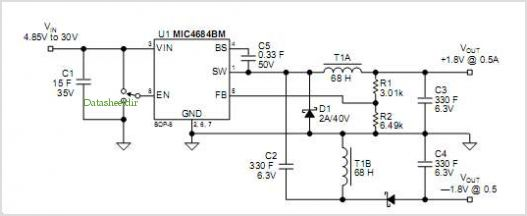 ±1.8v/0.5a Split Power Supply application circuits