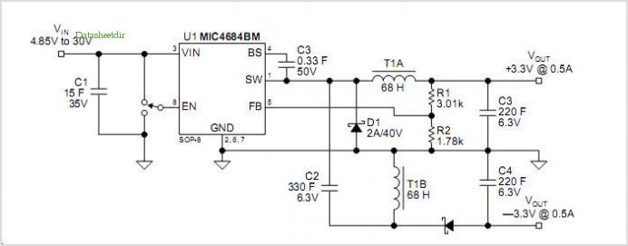 ±3.3v/0.5a Split Power Supply application circuits