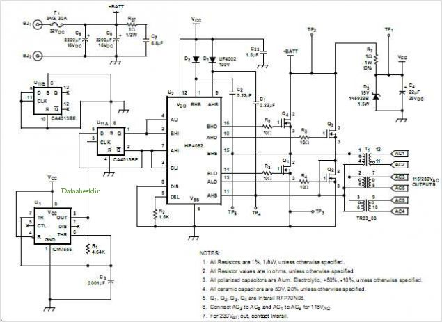 application notes and circuits for A Dc-ac Isolated Battery Inverter