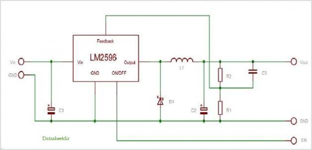 Schematic For The Lm2596adpbckgevb - Lm2596 3a Buck Demo Board application circuits.