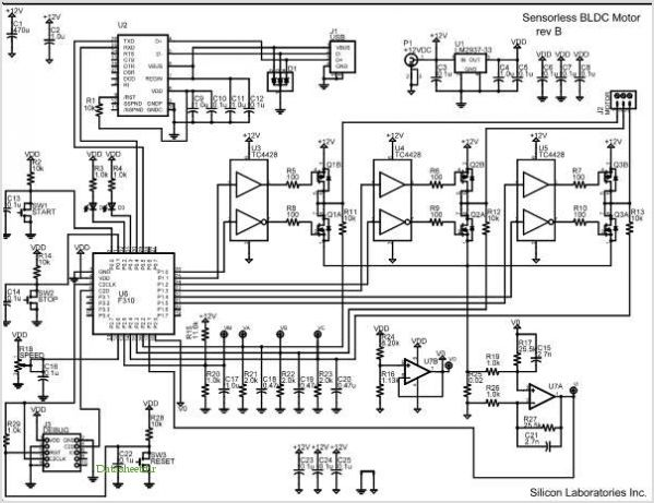 Sensorless Brushless Dc Motor Reference Design application circuits