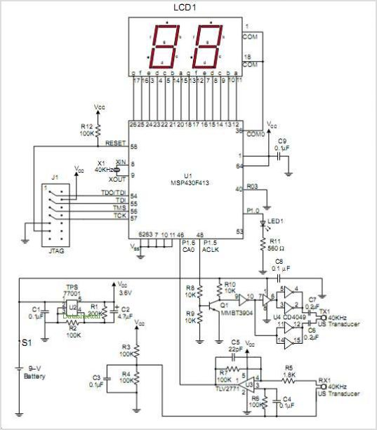 Ultrasonic Distance Measurement With the MSP430  Circuit Schematic
