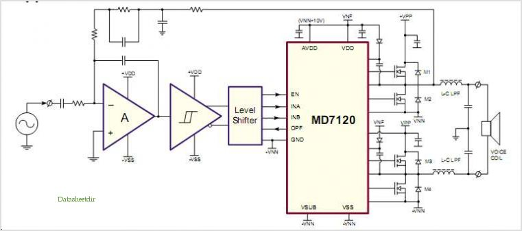 application notes and circuits for Md7120: Class-d Audio Amplifier