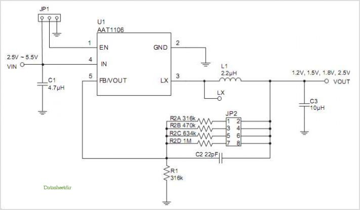 AAT1106 Evaluation Board Schematic.