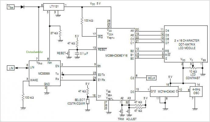 MC33399  MC68HC908EY16 Circuit Diagram of ESCI Baud-Rate Adjustment Application
