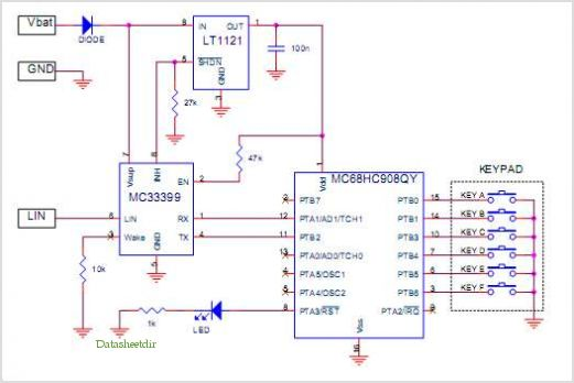 MC68HC908QY  Keypad Module Circuit Diagram