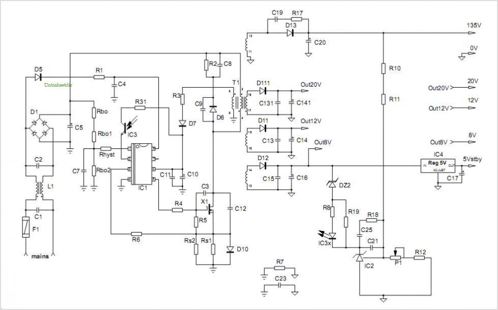 Crt Tv Power Supply Schematic Circuit Connection Diagram