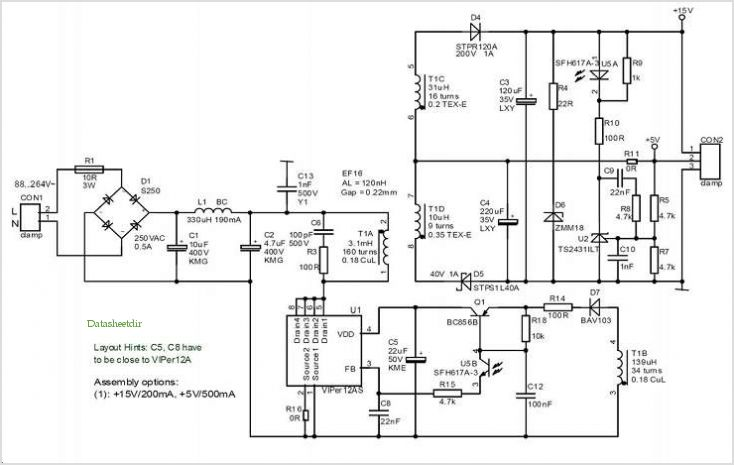 6 W Isolated Flyback Topology Power Supply Evaluation Board Based On Viper12a-e application circuits.