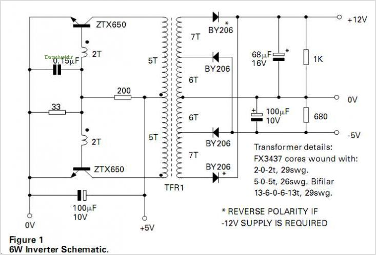 6w Inverter For Mos Logic Supplies application circuits