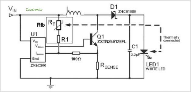 Circuit diagram of ZXSC300 with feed forward and thermal compensation