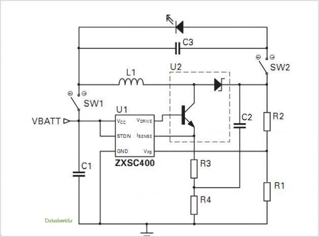 Zxsc400 Photoflash Led Reference Design application circuits