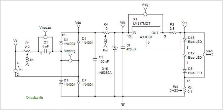 High Current Led - Capacitive Drop Drive Application Note application circuits