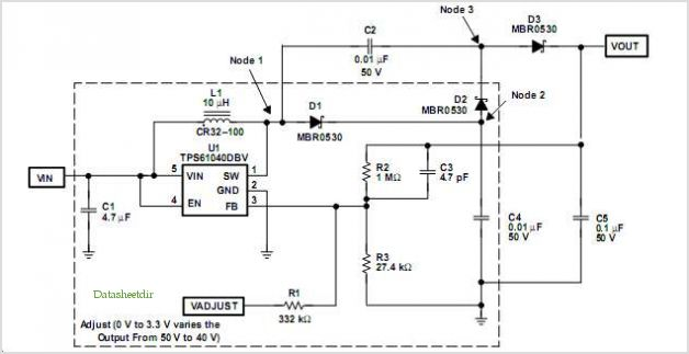 Example Power Supply Using the TPS61040
