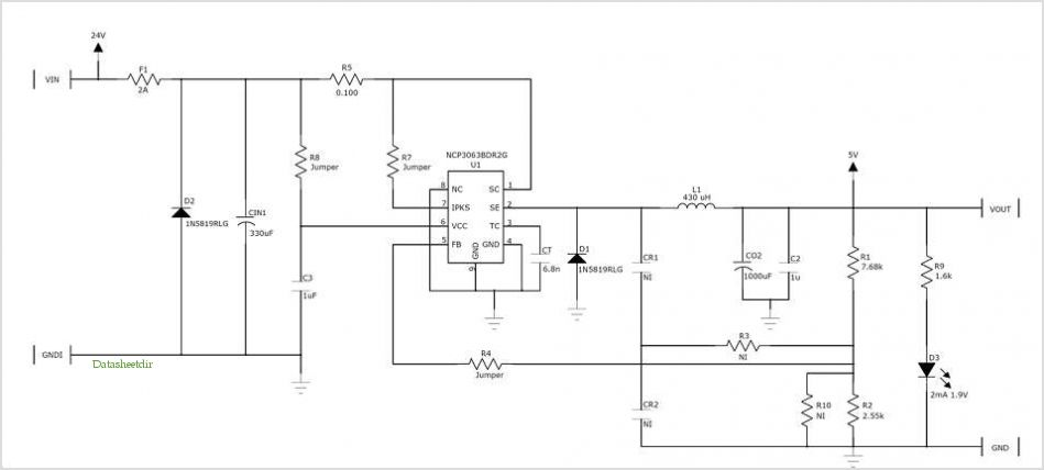Ncp3063: Cigarette Lighter Adapter (cla) - Reference Design application circuits