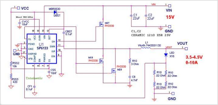 application notes and circuits for Sp6133 : 15v Input, 10amp Nominal