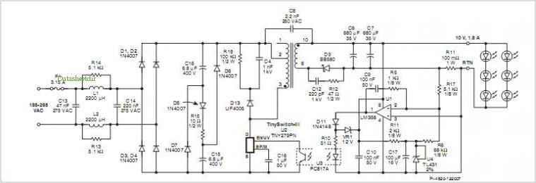 Led Lighting Power Supply Circuit Diagram | Application Notes And Circuits For Tny279pn Passive Pfc Led Lighting