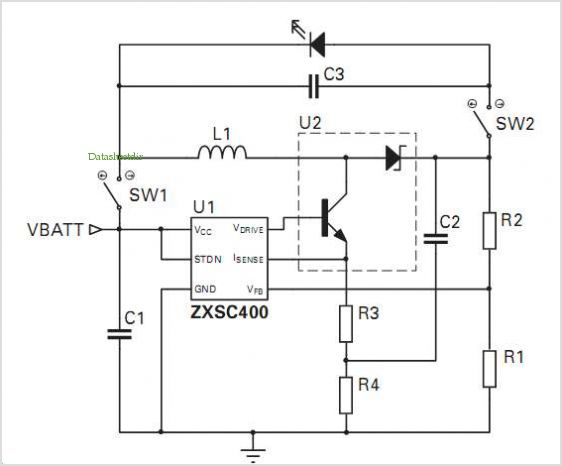ZXSC400 Photoflash LED reference design  Schematic diagram