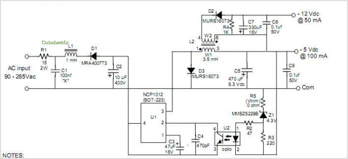Ncp1012: 1 W, Dual Output, Off-line Converter application circuits