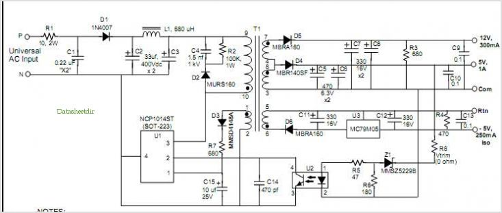 Ncp1014: 10 W, 3-output Off-line Power Supply application circuits