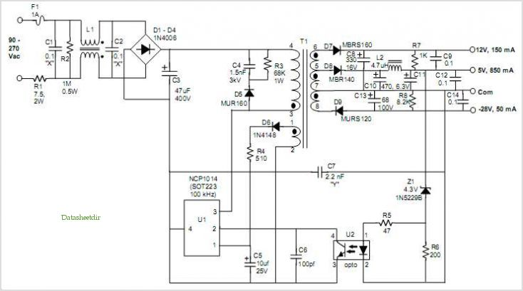 Ncp1014: 8 W, 3-output Off-line Switcher application circuits