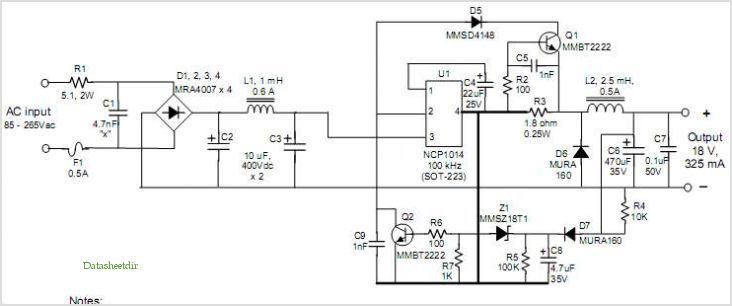 Ncp1014: Low Power, Off-line Buck, Cvcc Power Supply application circuits