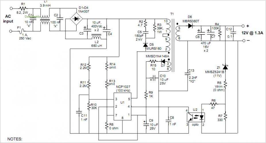 Schematic for the 16 W, 12 V AC-DC modem adapter