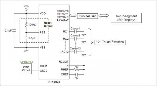 application notes and circuits for Using The Ht45r34 For 12