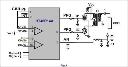 Using The Ht46r14a In A Ccfl Lamp Inverter application circuits