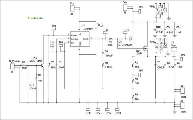 Schematic For The Ncp102 Evaluation Board application circuits